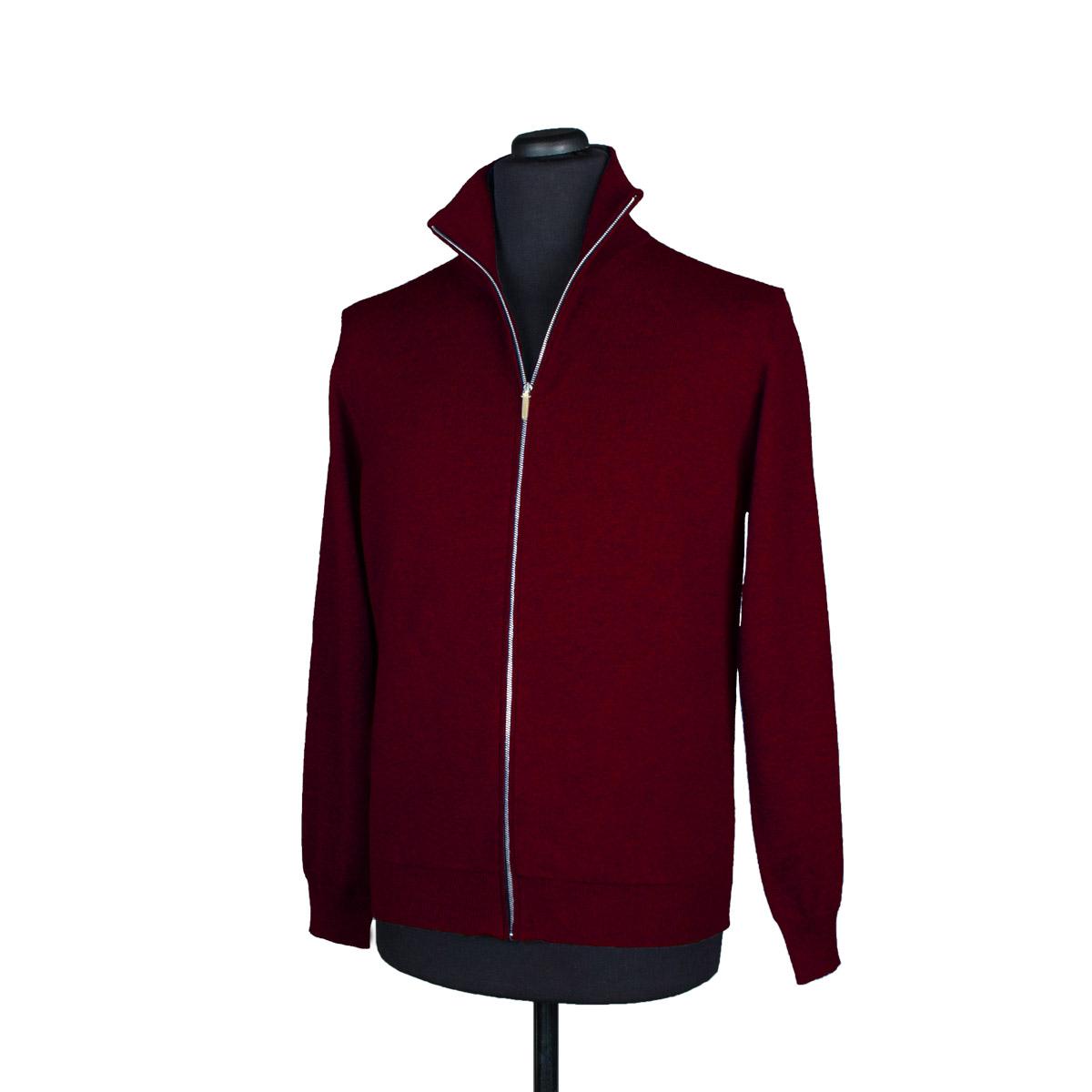 Mens zip up cashmere cardigan, burgundy - DiFranco Moda Italiana
