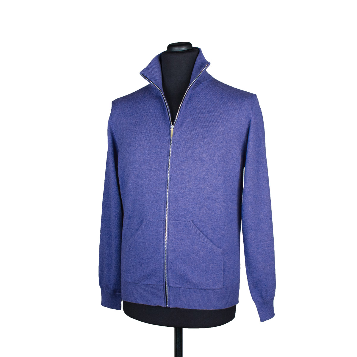 Mens zip up cashmere cardigan with pockets, lavender blue ...