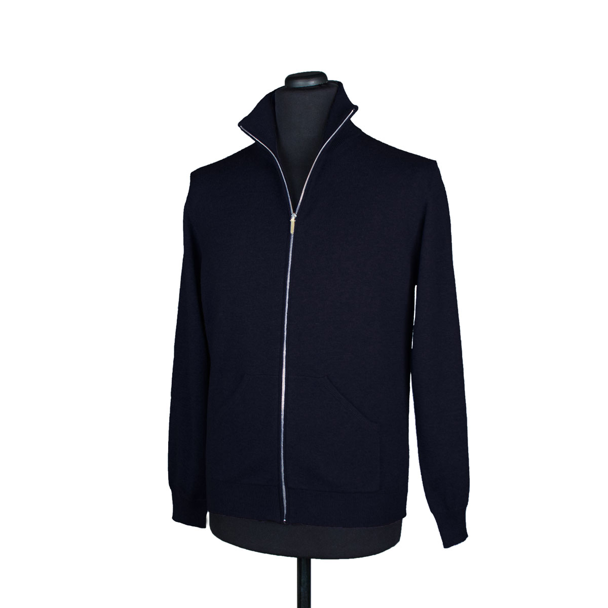 Mens zip up cashmere cardigan with pockets, midnight blue ...