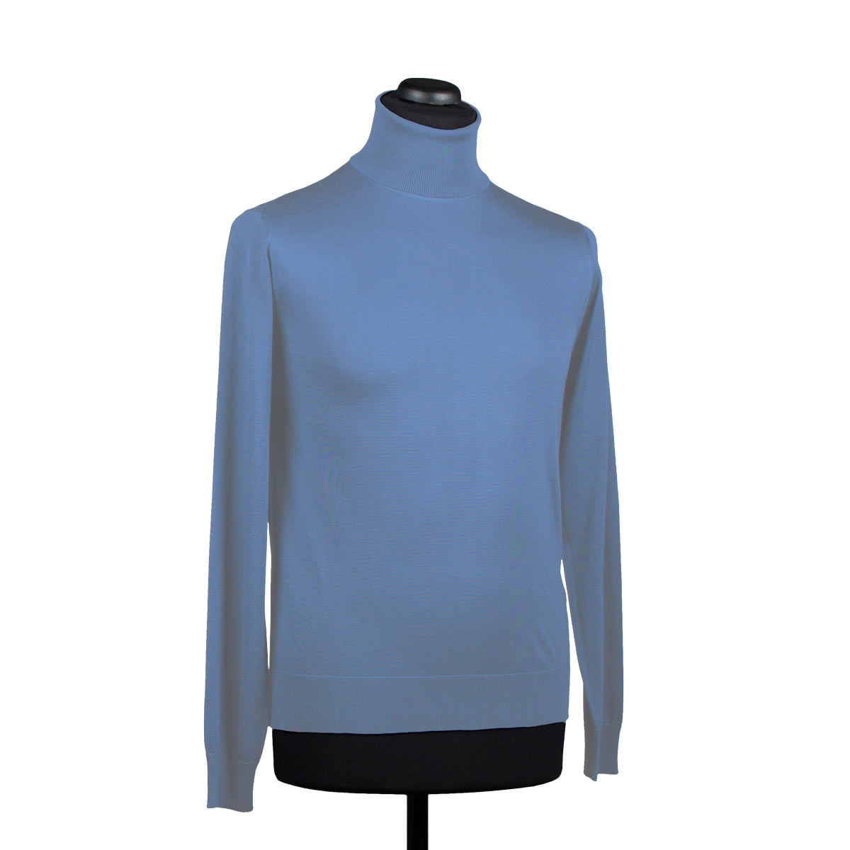 Silk turtleneck sweater for men, light blue - DiFranco Moda Italiana